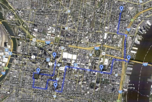 Philly Bike Party Google Map of Route for Feb 24 ride